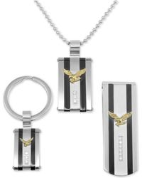 Macy's - 3-pc. Set Cubic Zirconia Striped Eagle Dog Tag Pendant Necklace, Key Chain & Money Clip In Stainless Steel - Lyst