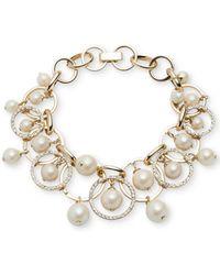 Carolee - Gold-tone Imitation Pearl Shaky Link Bracelet - Lyst