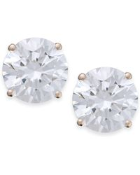 Arabella - 14k Rose Gold Earrings, Swarovski Zirconia Studs (5mm) - Lyst