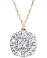 Wrapped in Love - Diamond Cluster Pendant Necklace (3/4 Ct. T.w.) In 14k Gold - Lyst