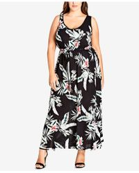 6443acfcfb3 Lyst - Lucky Brand Plus Size Striped Ditsy Maxi Dress in Black ...