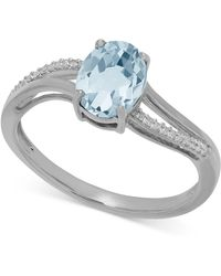 Macy's   Aquamarine (1-1/10 Ct. T.w.) And Diamond Accent Ring In 14k White Gold   Lyst