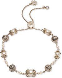 Marchesa - Gold-tone Bead & Imitation Pearl Slider Bracelet - Lyst