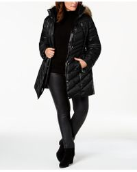 Laundry by Shelli Segal - Plus Size Faux-fur-trim Hooded Puffer Coat - Lyst