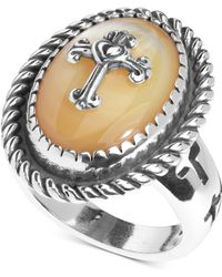 Macy's - American West Mother-of-pearl Doublet Cross Ring In Sterling Silver - Lyst