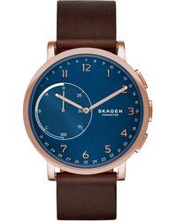 Skagen - Unisex Hagen Hybrid Brown Leather Strap Smart Watch 42mm Skt1103 - Lyst