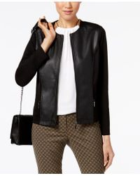 Alfani - Petite Mixed-media Moto Jacket - Lyst