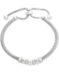 Effy Collection - Cultured Freshwater Pearl (6mm) Slider Bracelet In Sterling Silver - Lyst