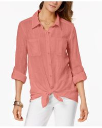 Style & Co. - Petite Tie-hem Shirt, Created For Macy's - Lyst