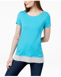 Tommy Hilfiger - Button-detail Crochet-hem Top, Created For Macy's - Lyst