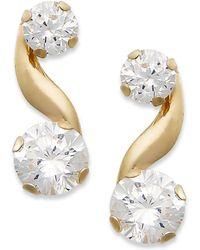 Macy's - 10k Gold Earrings, Cubic Zirconia Bypass Earrings (1-1/5 Ct. T.w.) - Lyst