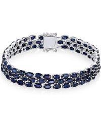 Macy's | Sapphire Three-row Bracelet (25 Ct. T.w.) In Sterling Silver | Lyst