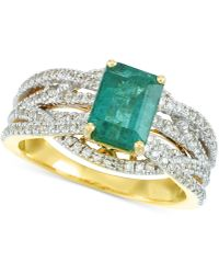Rare Featuring Gemfields - Certified Emerald (1-1/5 Ct. T.w.) And Diamond (3/8 Ct. T.w.) Ring In 14k Gold - Lyst