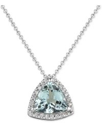 Macy's - Aquamarine (1-1/2 Ct. T.w.) And Diamond (1/8 Ct. T.w.) Pendant Necklace In 14k White Gold - Lyst