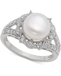 Macy's - Freshwater Pearl (9mm) & Cubic Zirconia Ring In Sterling Silver - Lyst