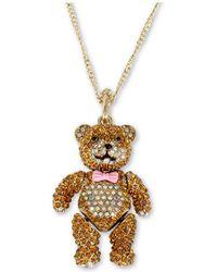 Betsey Johnson - Pave Teddy Bear Pendant Long Necklace - Lyst