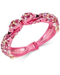 Betsey Johnson - Pink-tone Pavé Stone And Imitation Pearl Flamingo Bangle Bracelet - Lyst