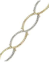 Macy's   14k Gold And White Gold Bracelet, Diamond Accent Oval Link Bracelet   Lyst