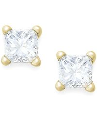 Macy's - Princess-cut Diamond Stud Earrings In 10k White Gold (1/6 Ct. T.w.) - Lyst
