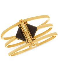 Steve Madden - Gold-tone Stone Triangle Triple-row Bangle Bracelet - Lyst