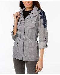Vince Camuto - Hooded Tab-sleeve Embroidered Anorak - Lyst