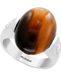 Effy Collection - Men's Tiger's Eye & White Topaz (1-1/10 Ct. T.w.) Ring In Sterling Silver - Lyst