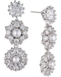 Marchesa - Silver-tone Crystal & Imitation Pearl Linear Drop Earrings, Created For Macy's - Lyst