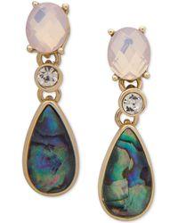 Anne Klein - Gold-tone Multi-stone Drop Earrings - Lyst