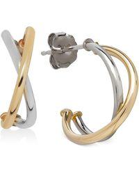 Macy's - Two-tone Crisscross Hoop Earrings In 10k White And Yellow Gold, 1/2 Inch - Lyst