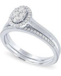 Macy's - Diamond Oval Halo Cluster Bridal Set (1/3 Ct. T.w.) In 14k White Gold - Lyst