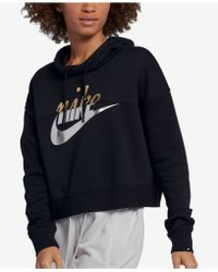 aeeeb17cb357 Lyst - Nike Sportswear Rally Funnel-neck Metallic-logo Hoodie in Gray