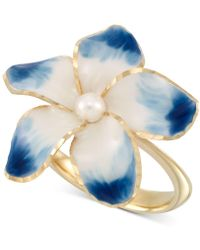 Macy's - Cultured Freshwater Pearl (3mm) & Ceramic Flower Statement Ring In 14k Gold - Lyst