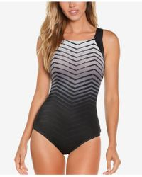 Reebok - Prime Performance Printed High-neck Tummy Control One-piece Swimsuit - Lyst