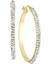 Macy's - Swarovski Crystal Hoop Earrings In 14k Gold & White Gold - Lyst