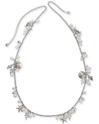 "Charter Club - Two-tone Charm & Imitation Pearl Sea Life Strand Necklace, 40"" + 2"" Extender, Created For Macy's - Lyst"