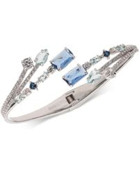 Carolee - Silver-tone Multi-crystal Bypass Bracelet - Lyst