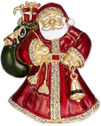 Charter Club - Holiday Lane Gold-tone Crystal & Epoxy Santa Claus Pin, Created For Macy's - Lyst