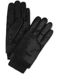 Calvin Klein - Ribbed-insert Leather Gloves - Lyst