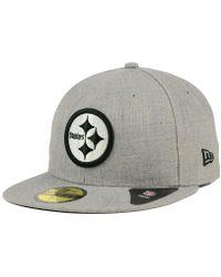 buy online 5db44 5d330 KTZ - Pittsburgh Steelers Heather Black White 59fifty Cap - Lyst