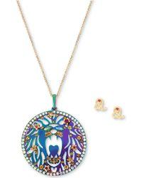 "Betsey Johnson - Two-tone Multi-stone Leo Zodiac Pendant Necklace & Stud Earrings Set, 21-1/2"" + 3"" Extender - Lyst"