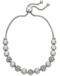 Charter Club - Silver-tone Pavé Ball & Imitation Pearl Slider Bracelet, Created For Macy's - Lyst