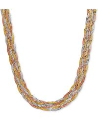 Macy's   Tri-color Braided Herringbone Statement Necklace In 10k Gold, White Gold & Rose Gold   Lyst