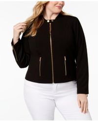 Calvin Klein - Plus Size Lux Stretch Zip-front Jacket - Lyst