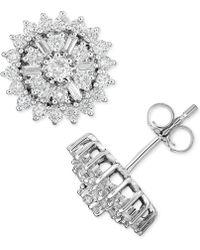 Macy's - Diamond Starburst Cluster Stud Earrings (1 Ct. T.w.) In 14k White Gold - Lyst