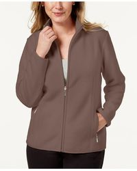 Karen Scott Zip-up Zeroproof Fleece Jacket, Created For Macy's - Brown