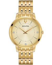 Bulova - Women's Diamond Dress Diamond Accent Gold-tone Stainless Steel Bracelet Watch 36mm - Lyst
