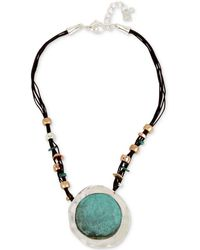 Robert Lee Morris - Tri-tone Black Leather Sculptural Pendant Necklace - Lyst