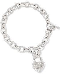 Macy's - Diamond Heart Charm Bracelet (1/4 Ct. T.w.) In Sterling Silver - Lyst