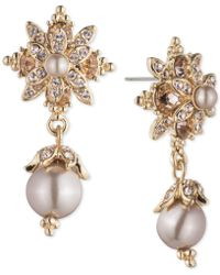 Marchesa - Crystal & Imitation Pearl Drop Earrings - Lyst