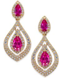 Macy's - Certified Ruby (1-1/2 Ct. T.w.) And Diamond (3/4 Ct. T.w.) Drop Earrings In 14k Gold - Lyst